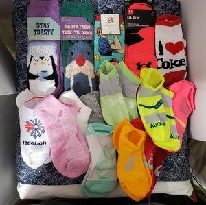 13 Pairs of Running Socks & 4 Relaxing Socks Brand